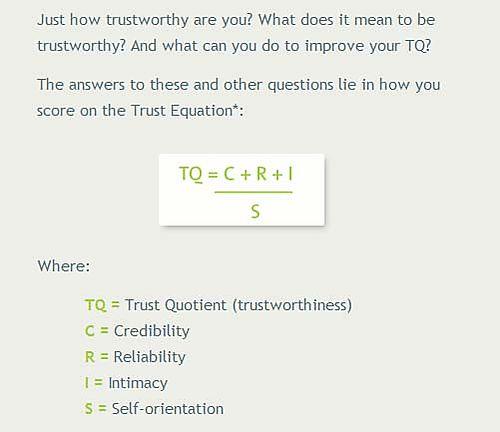 Sales Training Blog : Trust formula